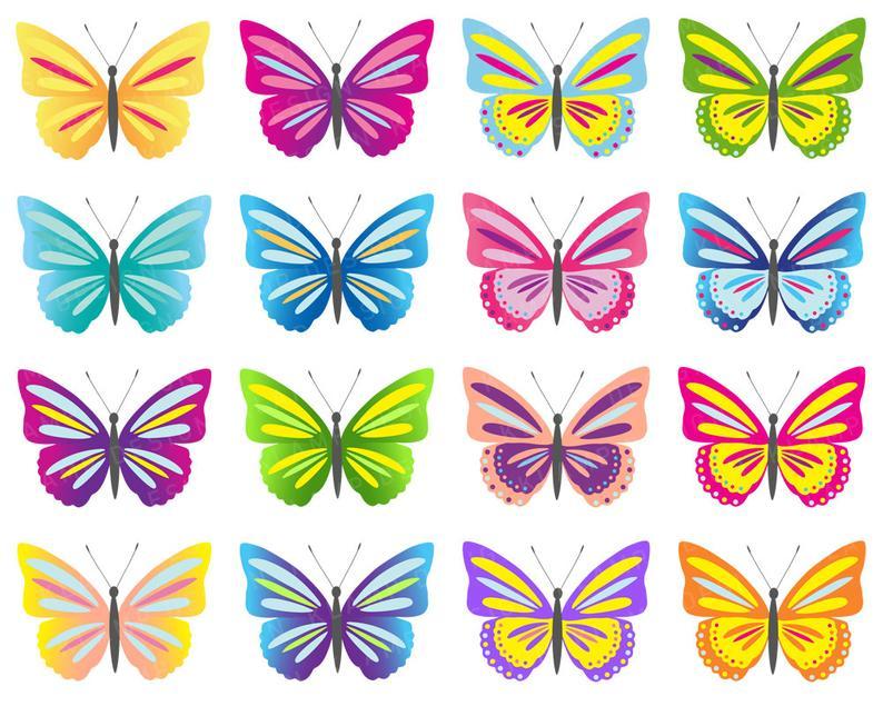 Butterfly Clip Art, Digital Butterflies Clipart, Colorful Butterflies  Clipart, Scrapbook Butterfly, Colorful Butterfly, Butterfly Printable.