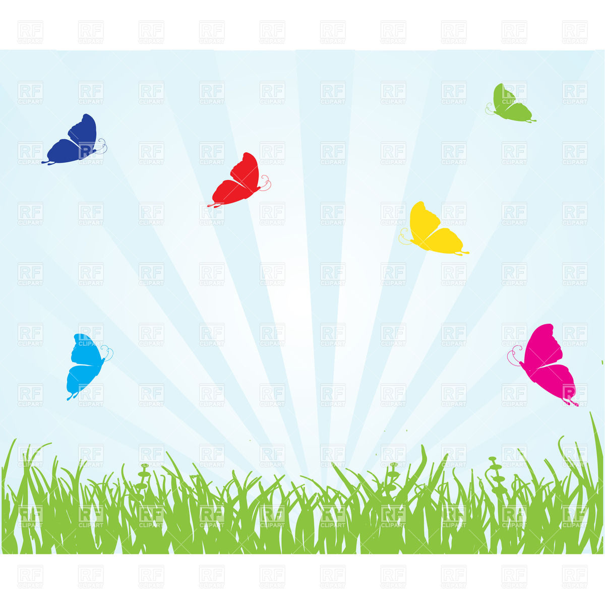 Natural backgrounds with grass, rays and butterflies Stock Vector Image.