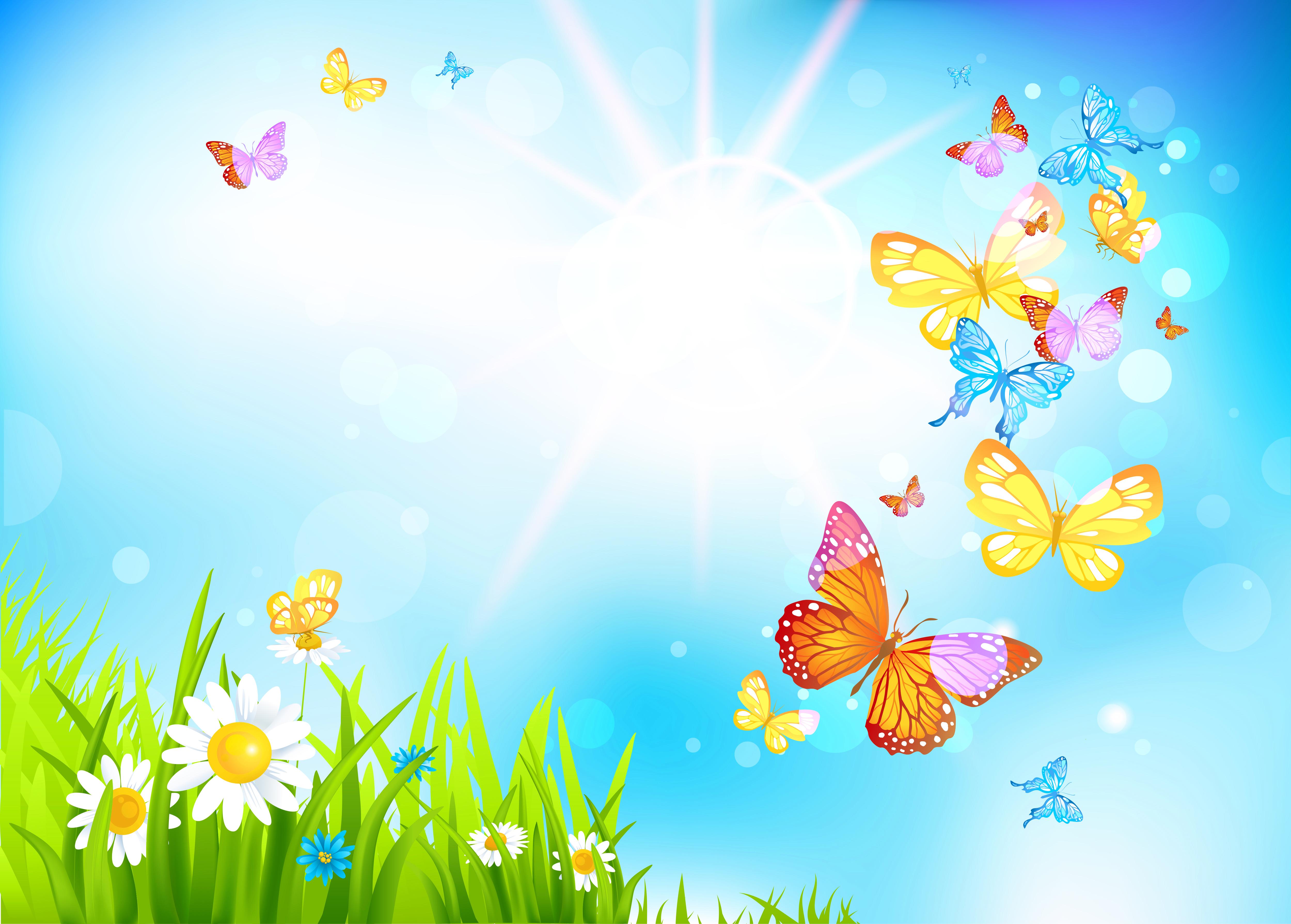 Spring Butterflies Background.
