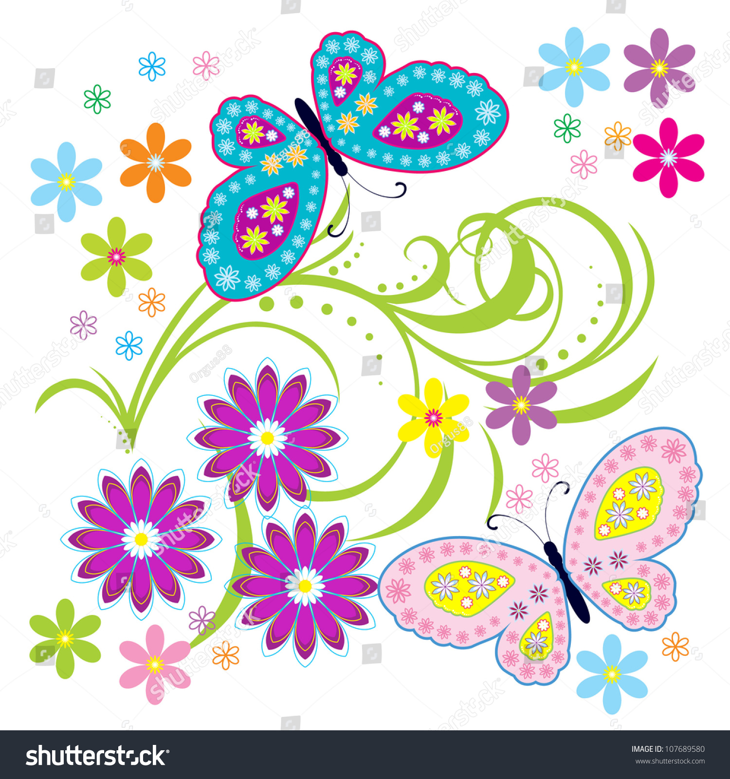 Vector Flowers Butterfly Background Beauty Butterfly Stock Vector.