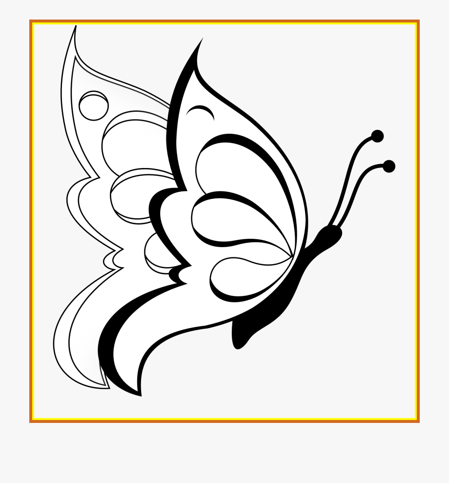 Shocking Butterfly Clipart Black White Line Art Coloring.