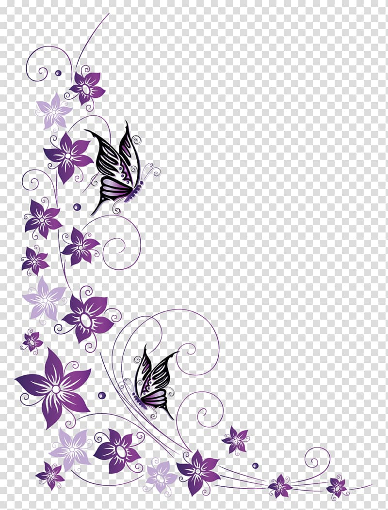 Purple and pink flower frame , Butterfly , butterfly border.