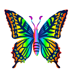Blue Colorful Butterfly Clipart Free Picture|Illustoon.