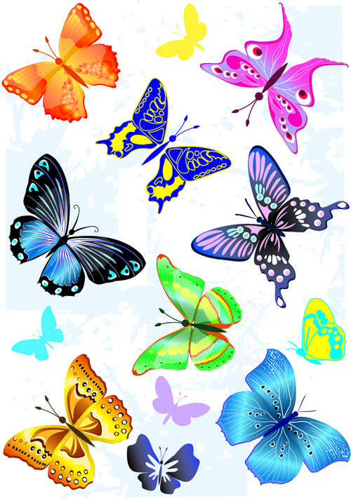 Sorts of butterflies clip art vector material 04 free download.