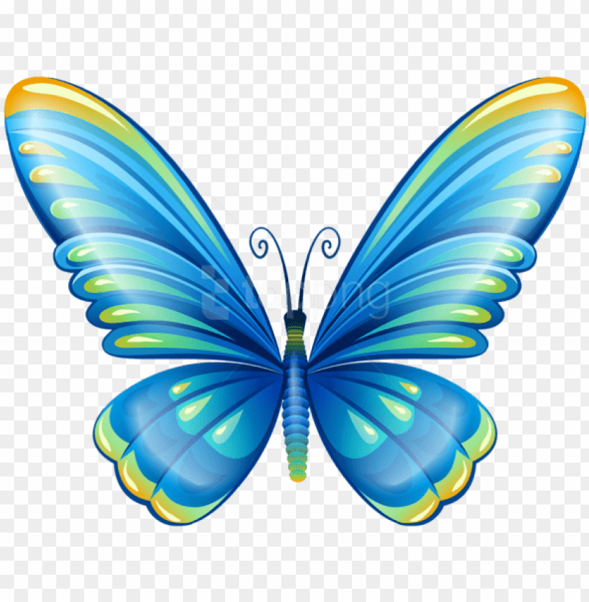 free png download large art blue butterfly clipart.