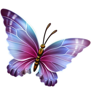 Purple and Blue Transparent Butterfly Clipart.