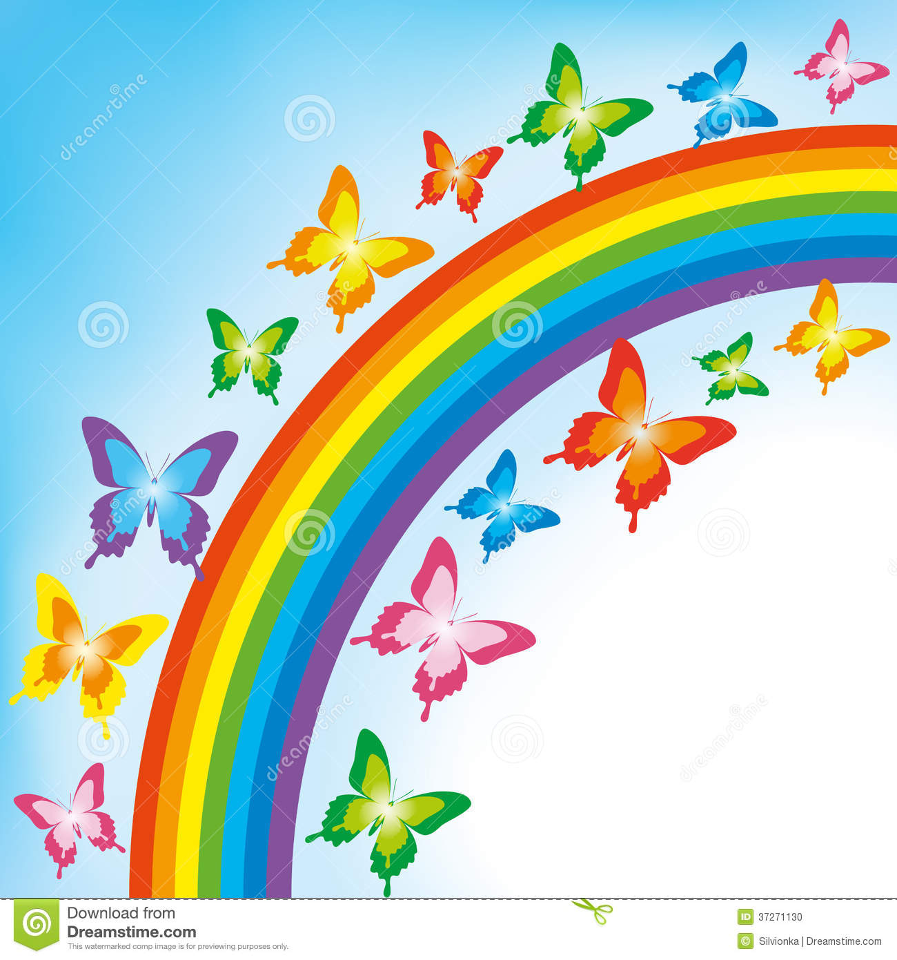 Background With Butterfly And Rainbow Stock Photo.