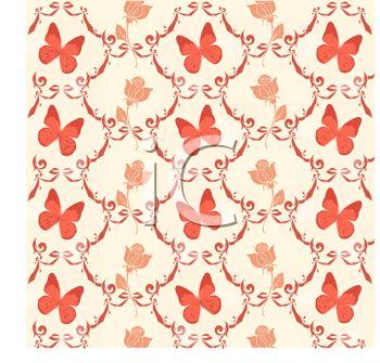 Vintage Butterfly Design Wallpaper.