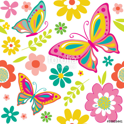 spring pattern with cute butterflies suitable for gift wrap or.