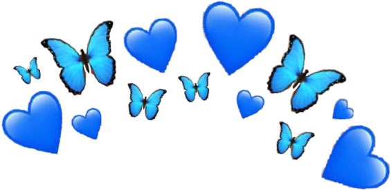 blue heart butterfly emoji crown hearts butterflies bla.