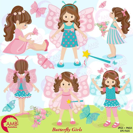 Butterfly clipart, Fairy clipart, Fairy girls clipart, princess.