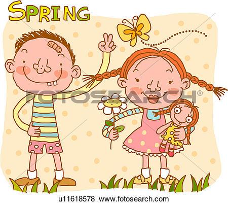 Stock Illustration of peace sign, girl, doll, flower, holding.