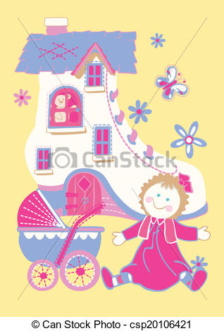 Vector Illustration of Shoe house with doll and butterfly.