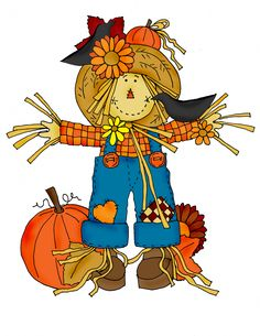 Scarecrow colored inwith butterfly clipart.