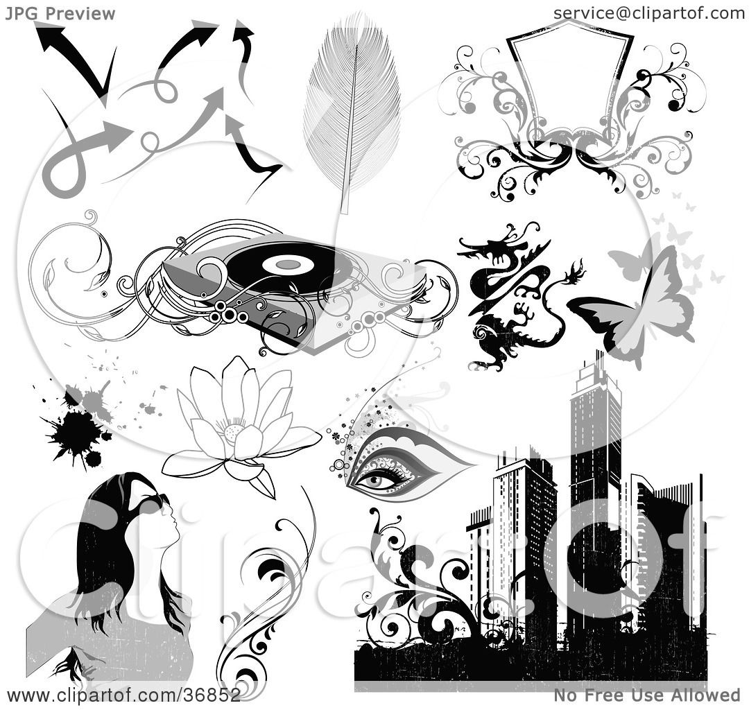 Clipart Illustration of Arrows, Feathers, Shields, Record Player.