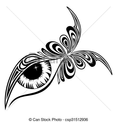 Vectors of Human eye with butterfly pattern on the outer corner.