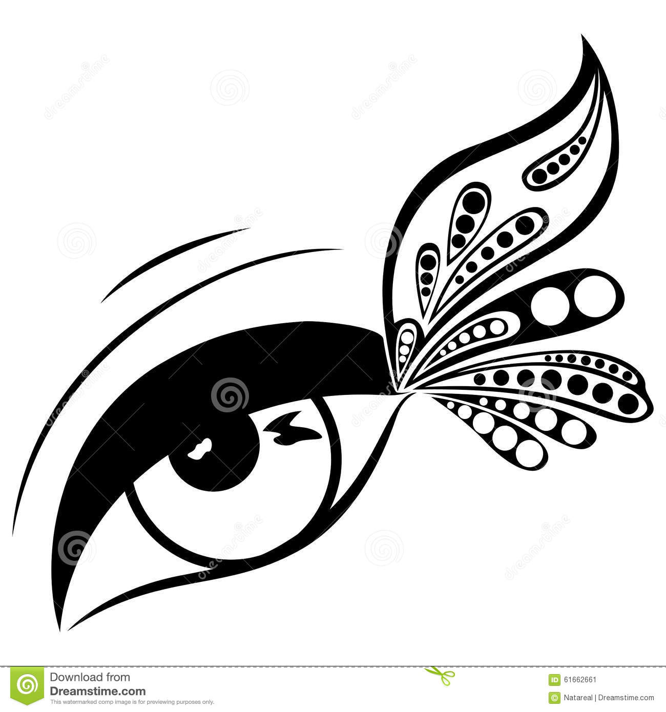 Human Eye With Patterned Butterfly Wing Stock Vector.