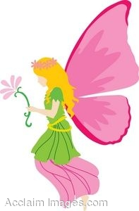 Clipart Picture of a Pink Fairy Holding a Flower.