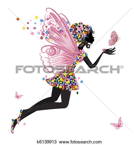 Clipart of Flower Fairy with butterfly k6139913.