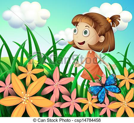 EPS Vector of Kids at the farm.