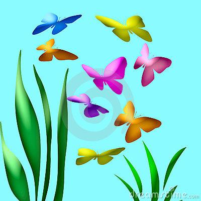 Butterfly garden clipart.