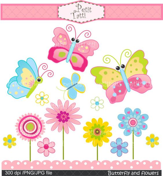 Pink butterfly and flower clipart.