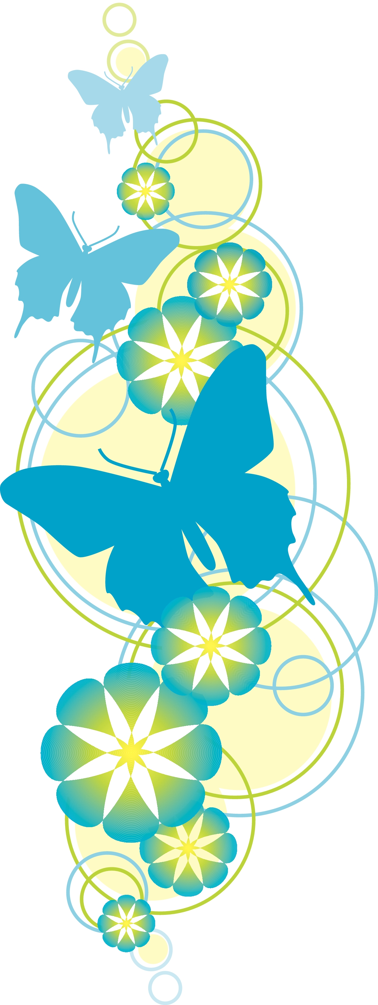 Butterfly and flower clip art.