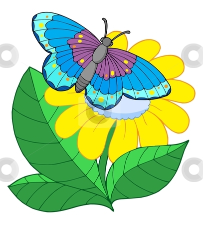 Butterfly on flower clipart.