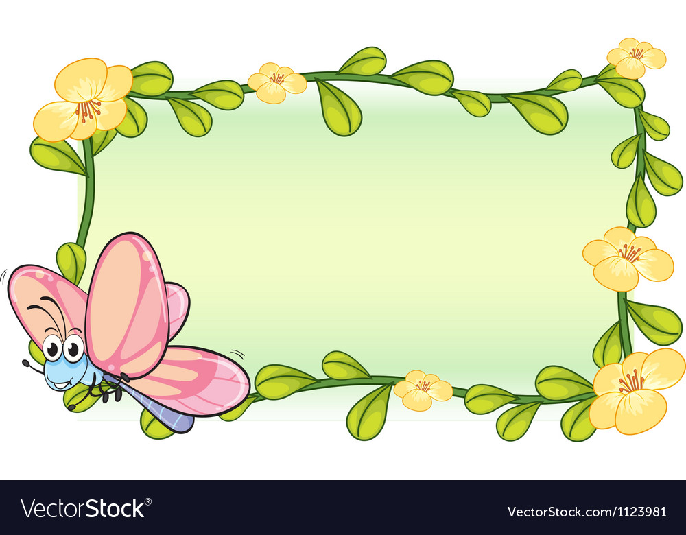 A butterfly and a flower frame.
