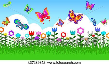 Butterfly in garden Clipart.