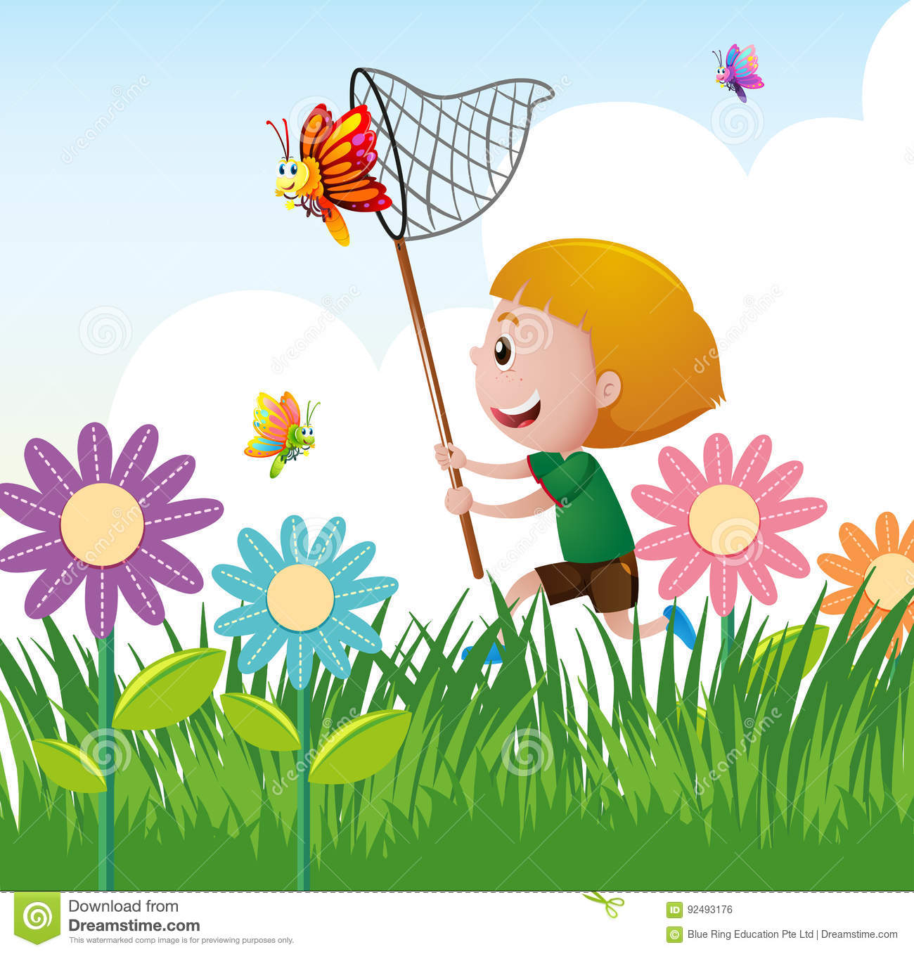 Boy Catching Butterfly In The Garden Stock Vector.