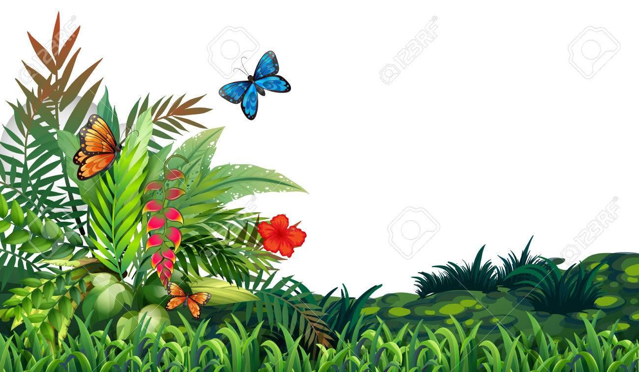 Illustration of butterflies flying in the garden.