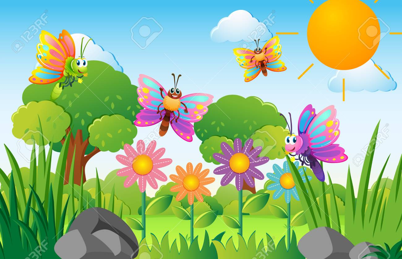 Butterflies flying in flower garden illustration.