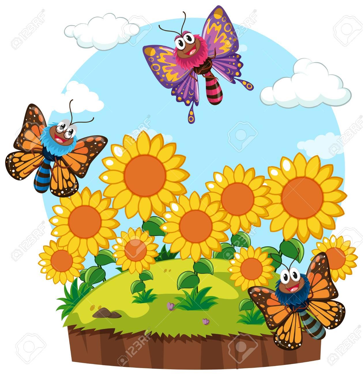 Garden scene with butterflies in sunflower garden illustration.