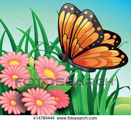 A big orange butterfly at the garden Clipart.