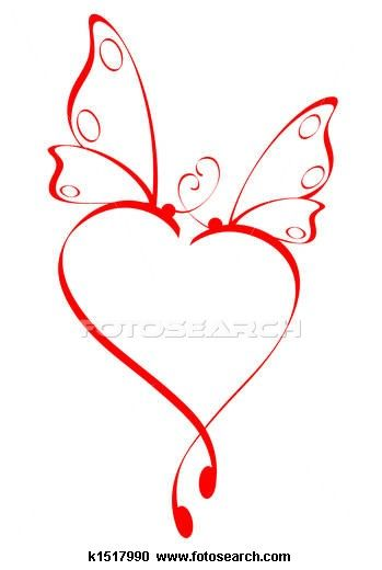 Butterfly heart Clipart.