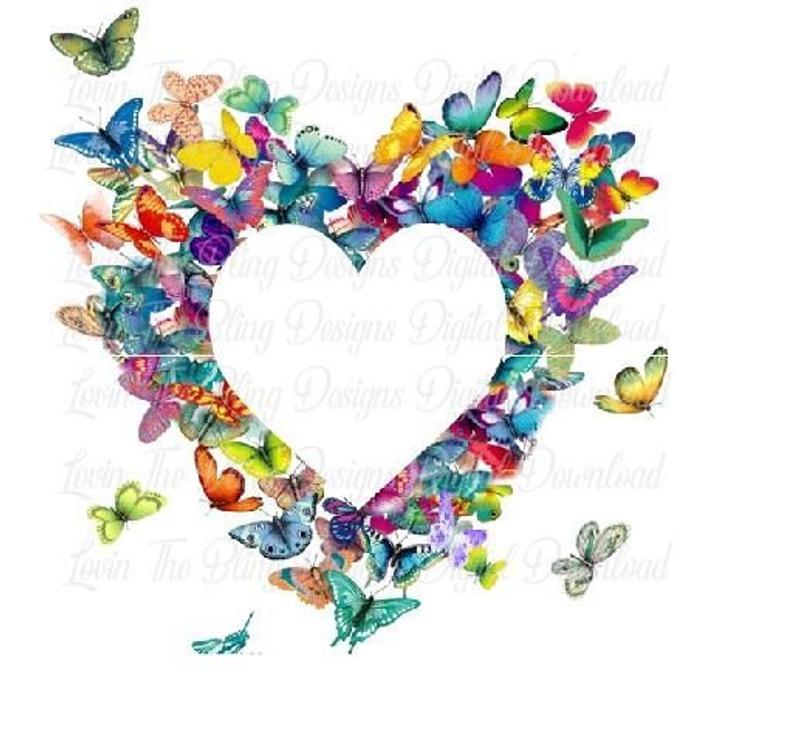 Butterfly Heart Digital Clipart Download.