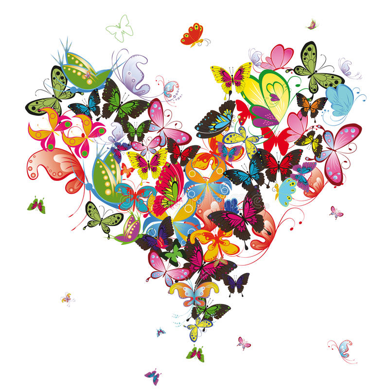 Butterfly Heart Stock Illustrations.