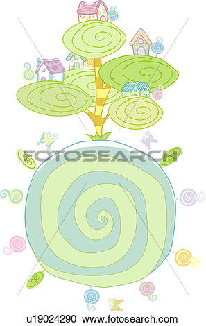 Stock Illustrations of fantasy, village, tree, butterfly, house.