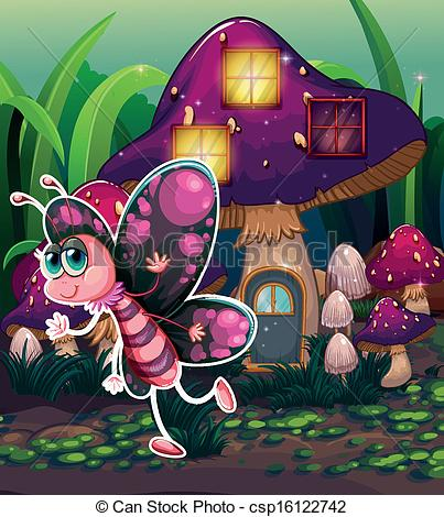 EPS Vector of A colorful butterfly near the lighted mushroom house.