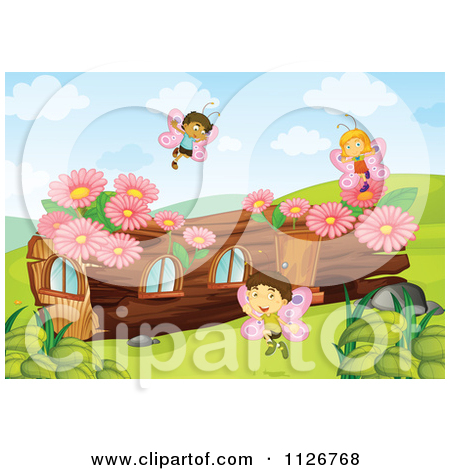 Cartoon Of Butterfly Fairies By A Log House.