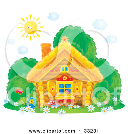 House and butterfly clipart.