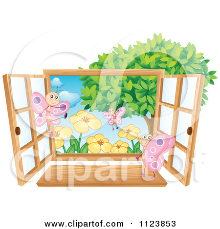 Cartoon Of A Window With A Butterfly House And Flowers.