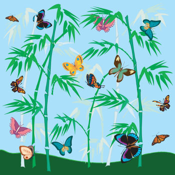 Clip Art Picture of a Butterfly Garden.