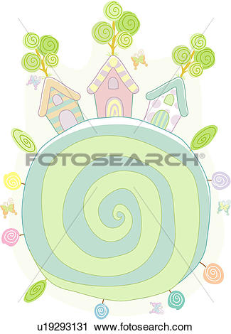 Clipart of fantasy, village, tree, butterfly, house, tree growing.