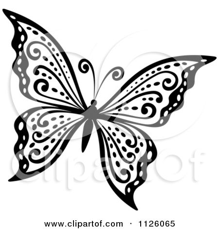 Clipart Of A Black And White Butterfly 29.