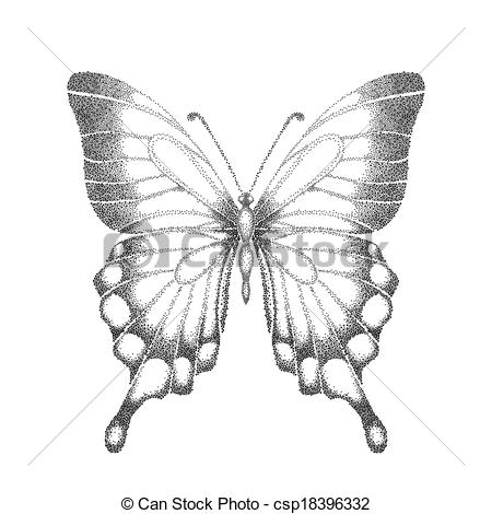 Butterfly And Hand Clipart Black And White.