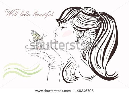 Beautiful Girl Butterfly Vector Illustration Handdrawn Stock.