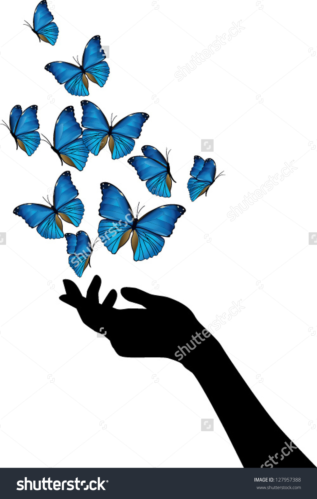 Butterfly Flying Away Clipart.