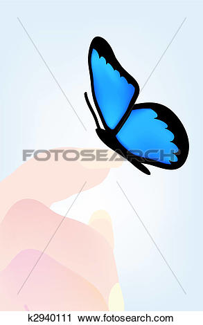 Clipart of butterfly sitting on hand k2940111.